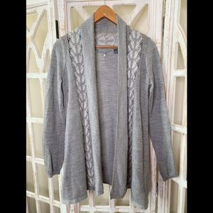 Anthropologie knitted & knotted grey lace cardigan